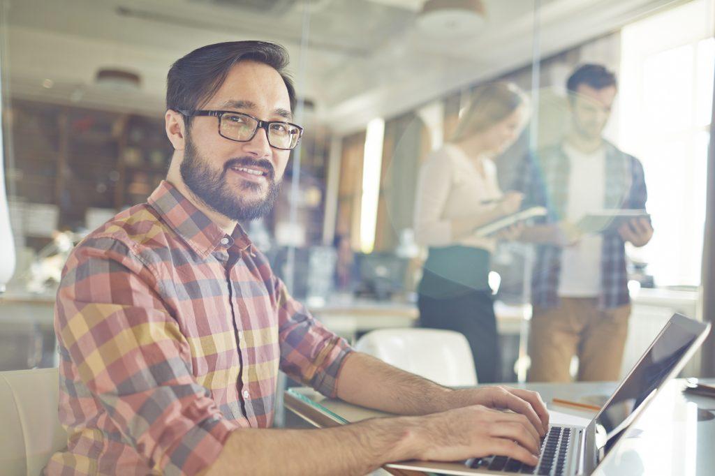 employee in tech job working in office