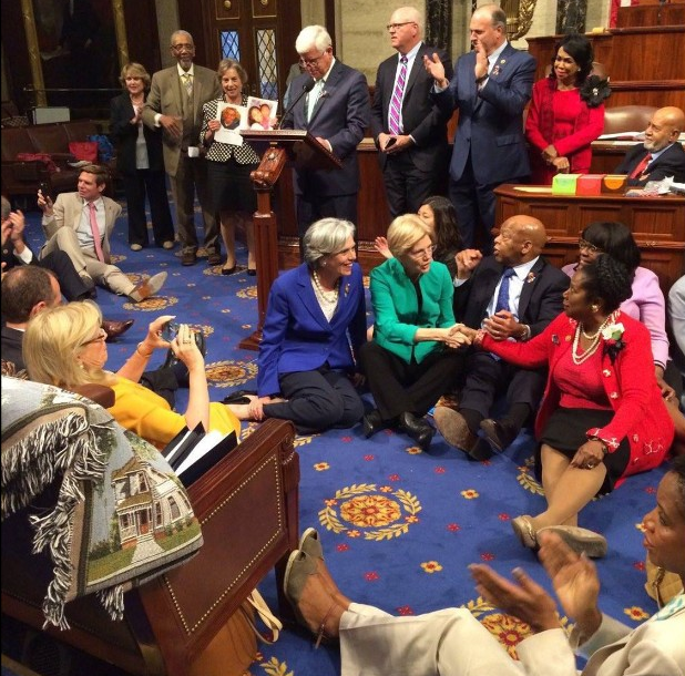 Photo credit CNN Politics: http://www.cnn.com/2016/06/23/politics/gallery/house-democrats-sit-in/index.html