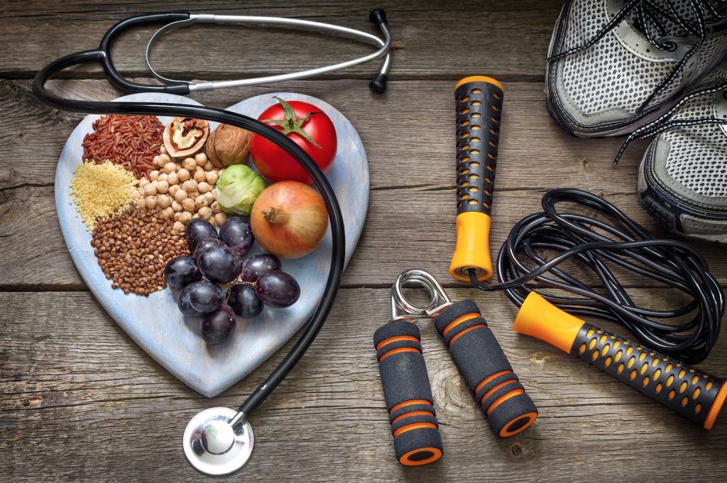 still-life-photo-of-health-foods-and-exercise-equipment