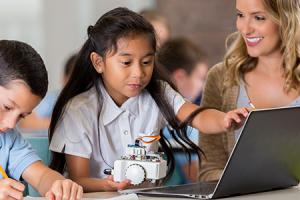 STEM school children building a robot