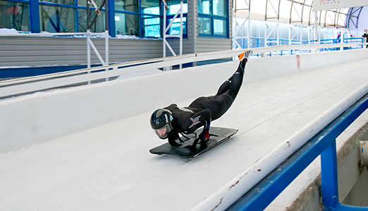 Savannah Graybill practicing for the US Olympic Skeleton team
